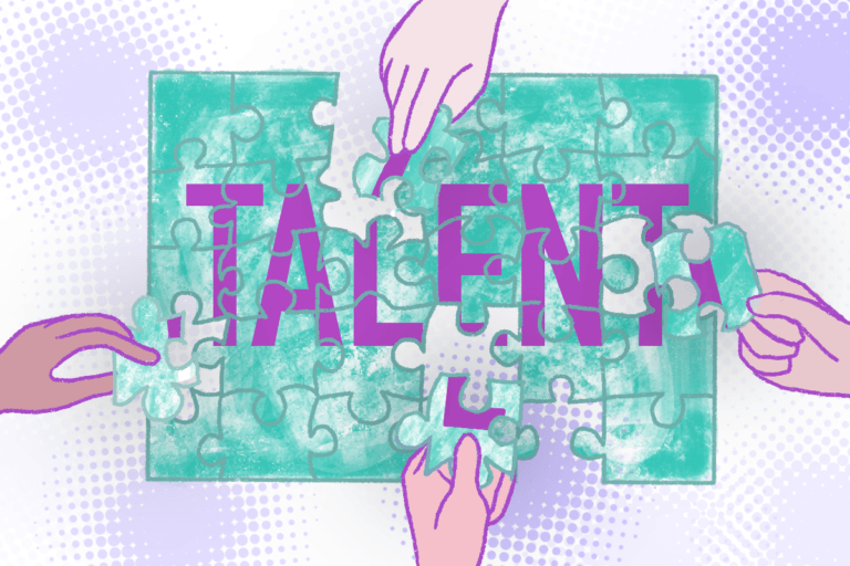 "Hands placing puzzle pieces, completing a puzzle that spells out ""Talent"""