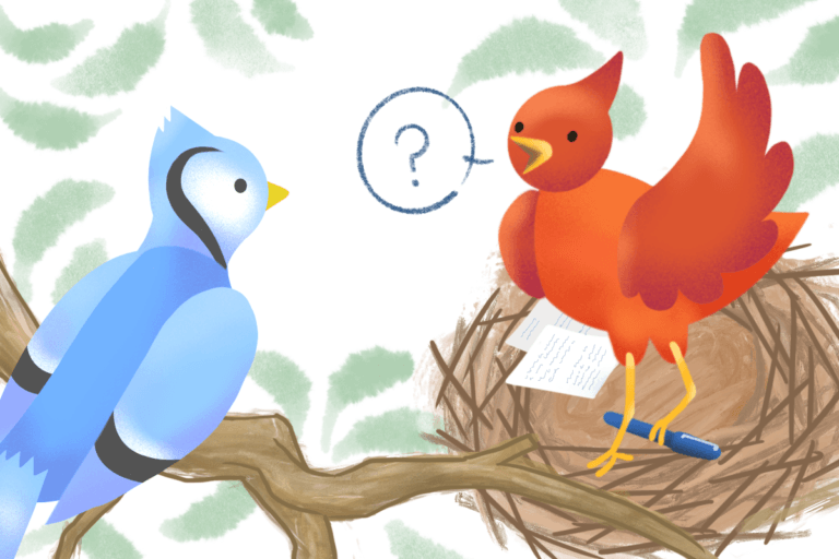 Red bird holding a pen asks a blue bird an interview question.
